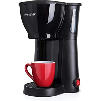 Mixpresso Mini Compact Drip coffee Maker With Brewing Basket, Black Small Coffee Pot (10.5oz)
