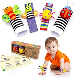 BABY K Foot Finder Socks & Wrist Rattles - Newborn Toys for Baby Boy or Girl - Brain Development Infant Toys - Hand and Fo...