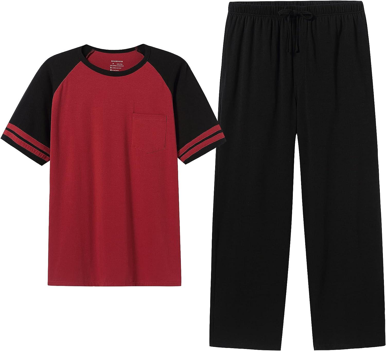 SANQIANG Lightweight Soft Cotton Spandex Stretchy Long/Short Pajamas Set for Men 2 Pieces Casual Men's Sleepwear S-XXL