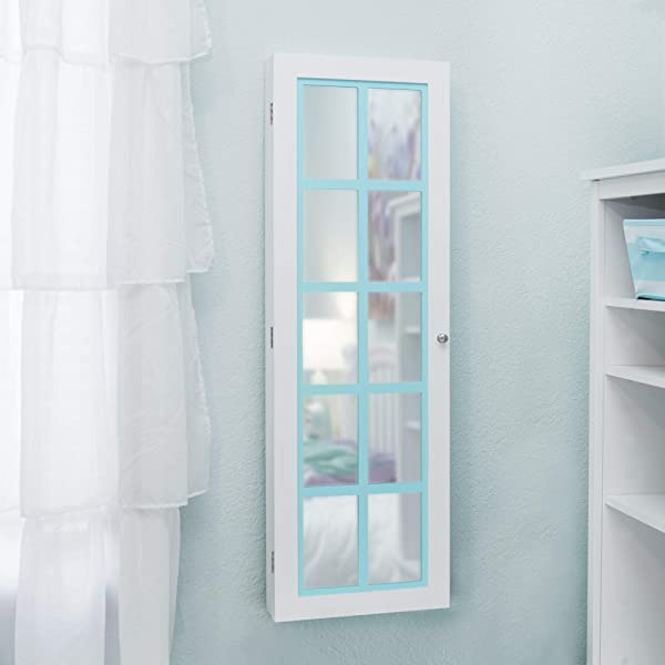 FirsTime Co 81005 Aqua Pastel Jewelry Armoire Accent Wall Mirror 43 X 14 X 3 5 White