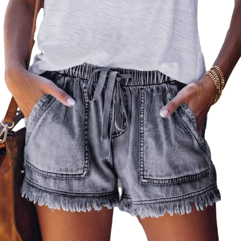 Qinvern Women's Retro Washed Denim Jean Shorts Frayed Raw Tassels Hem Elastic