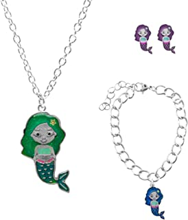 FROG SAC Mermaid Jewelry for Girls 3 PCs Set - Color Changing Mermaid Pendant Necklace, Silver Chain Adjustable Bracelet, Hypoallergenic Mermaid Earrings - Mood Jewelry for Kids Box for Little Girl