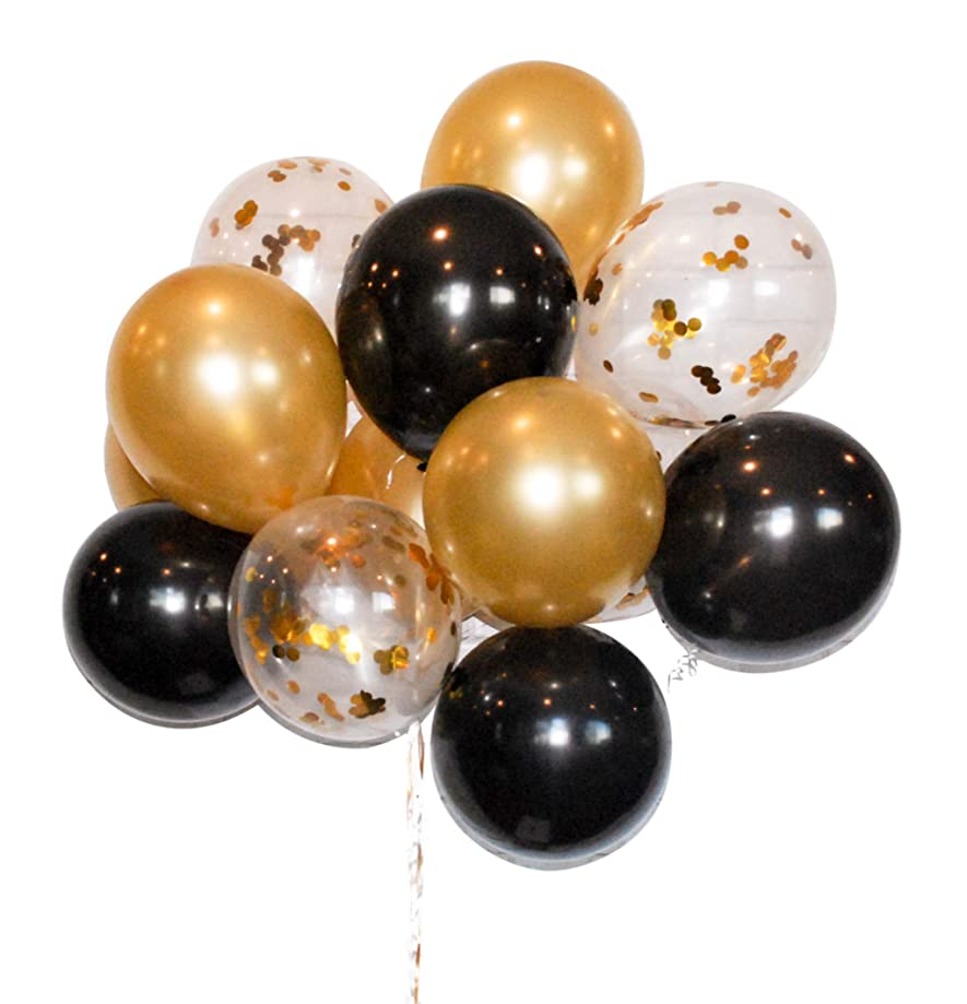 HomyBasic Gold Confetti 12 inch Latex Balloons Bulk Set 40 with 50M Ribbon, Blow helper for Parties, Anniversary, Wedding, Decorations, Birthday Party Supply (Gold, Black, Clear Balloon with confetti)
