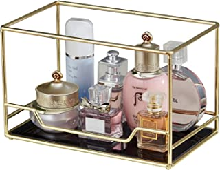 Vintage Mirrored Glass Stackable Perfume Tray/Gold Black Mirror Metal Tray for Makeup &Jewelry Organizer Ornate Decorative Organizer for Vanity/Bathroom Storage, Glass, Gold, Bottom