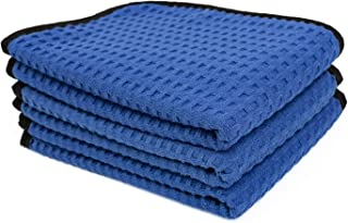 The Rag Company (3-Pack) Dry Me A River Professional Korean 70/30 Microfiber Waffle-Weave Drying & Detailing Towels (16x24, Navy Blue)