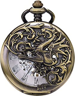SIBOSUN Pocket Watch Antique Dragon Mechanical Skeleton Roman Numerals with Chain Men