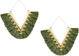 Statement Tassel Earrings, Delicate Bohemian V Shap Tassel Hoop Earring Elegant Fringe Drop Dangle Earrings for Women Girls
