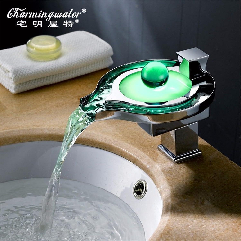 NewBorn Faucet Wasserhhne Warmes und Kaltes Wasser groe Qualitt der LED-Wasserhahn Temperaturregelung Three-Farbe Hei und Kalt Wasserhhne voll Kupfer Wasserfall Waschtischmischer