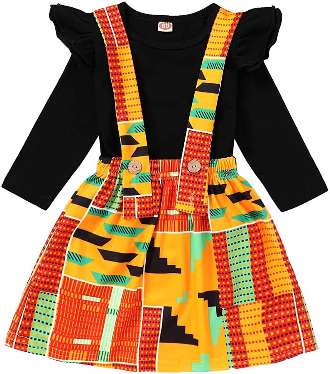 YOUNGER TREE Babys Dashiki African Print Strap Skirt Fall Winter Outfit Kente Clothes Dress for Girls
