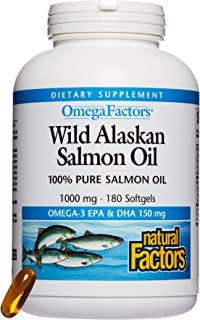 Omega Factors by Natural Factors, Wild Alaskan Salmon Oil, Supports Heart and Brain Health with Omega-3 DHA and EPA, 180 s...