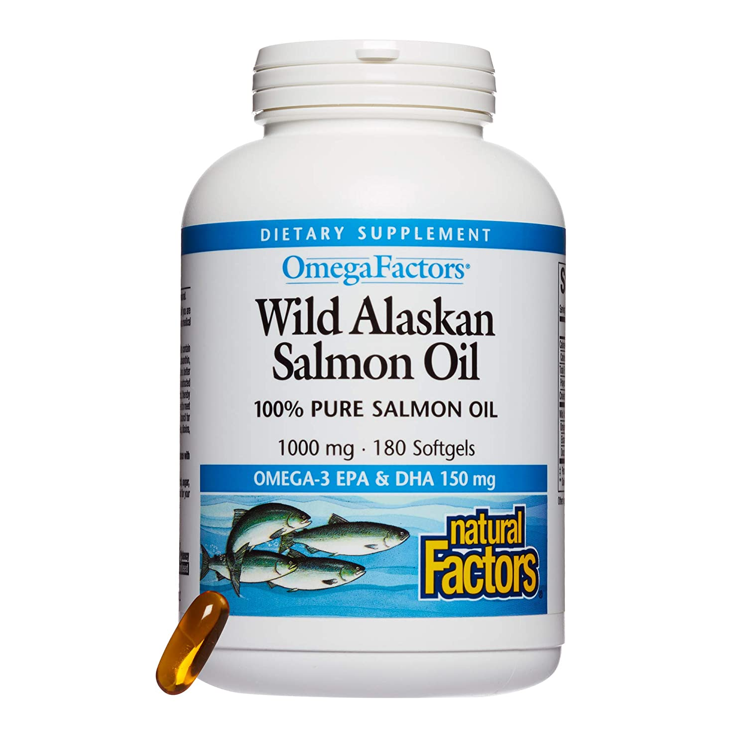 海外直送品Natural Factors Wild Alaskan Salmon Oil, 180 Softgels 1000 mg