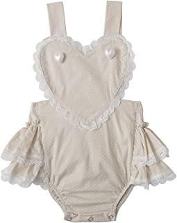 Newborn Baby Girl Ruffles Romper Lace Trim Cotton Dots Print Backless Sleeveless Outfit Clothes Bodysuit Onesie