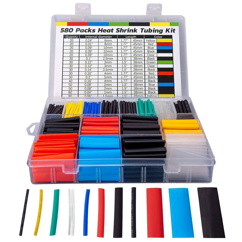 Huryfox 580 Piezas de Tubo Termorretráctiles, Funda Termoretractil, Kit Tubo Termocontraible Para Cables,con Caja( 6 colores, 11 tamaños)