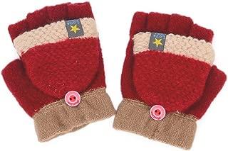 Flammi Kids Knitted Convertible Mittens Half Fingerless Gloves with Mitten Flap