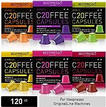 Bestpresso Coffee for Nespresso Original Machine 120 pods Certified Genuine Espresso Variety Pack Pods Compatible with Nes...