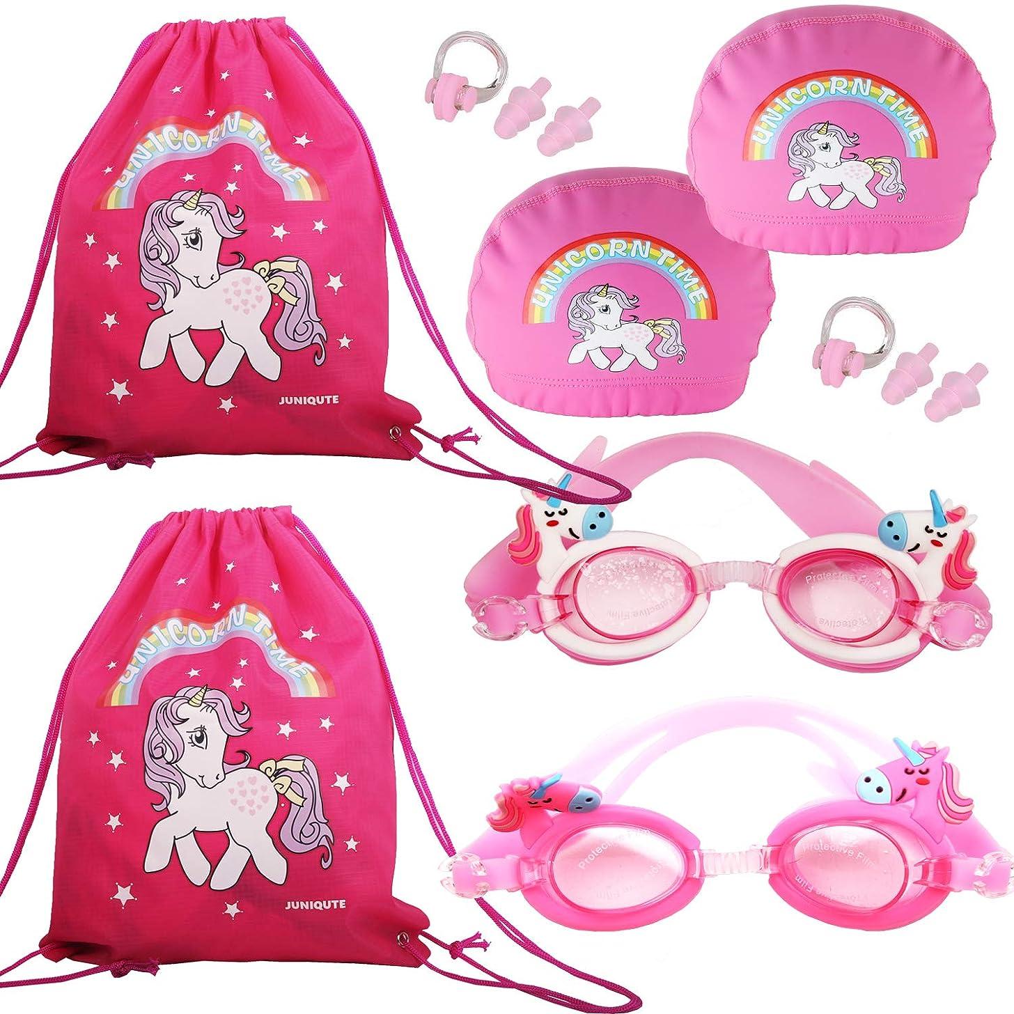 Pack of 6, 2PCS Kids Unicorn Swim Goggles, 2PCS Unicorn Breathe Swim Cap-Sun Protection Hat, 2PCS Unicorn Bags, Glasses for Girls and Teens from3 to15 Years, Anti-Fog, Waterproof, UV Protection