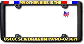 My Other Ride USCGC SEA DRAGON (WPB-87367) License Frame w/REFLECTIVE GOLD TEXT & Ribbons