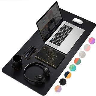 Almohadilla de computadora multifuncional para oficina, ultrafina e impermeable de piel sintética, alfombrilla de computadora de doble uso para oficina o hogar (Negro, 80 * 40cm)