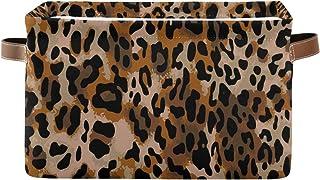 Tropicallife F17 Panier de rangement pliable en toile avec poignée Motif léopard