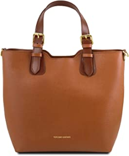 Tuscany Leather TLBag Borsa shopping in pelle Saffiano