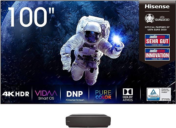 Tv 100 pollici hisense laser tv chermo luminoso 350nit, risoluzione 4k, hdr10, smart tv vidaa 4.0, dolby atmos 100L5F-B12