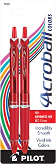 Pilot Acroball Colors Retractable Advanced Ink Ball Point Pens; Medium Point, Red, 2-Pack (31833) Ultra-Smooth Writing, Smear-Resistant Advanced Ink for Skip-Free Lines