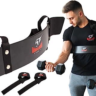Armageddon Sports Premium Arm Blaster Biceps Isolator + Bonus Weight Lifting Straps, Heavy Duty Bicep Blaster Curl Support...