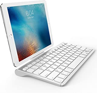 OMOTON Ultra-Slim Bluetooth Keyboard with Sliding Stand,Compatible with 2018 iPad Pro 11/12.9, iPad 10.5/10.2, New iPad 9.7 Inch, iPad Air, iPad Mini, iPhone and Other Bluetooth Enabled Devices, White