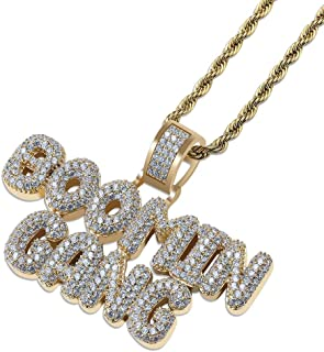 Hip Hop Jewelry Iced Out Bubble BOOMIN Gang Letter Pendant Necklace Rope Chain(Gold/Silver)