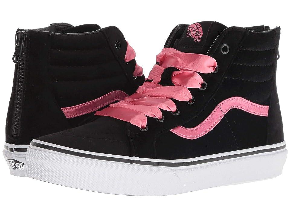 Vans Kids Sk8-Hi Zip (Little Kid/Big Kid) ((Satin Velvet) Black/Pink Lemonade) Girls Shoes