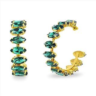 Steve Madden Green Rhinestone Marquise Hoop Earrings for Women