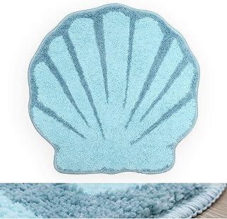 RORA Bath Rug Aqua Blue Seashell Shape Cartoon Plush Water Absorbent Bathroom Decor Mat Bathtub Bathroom Doormats for Kid'...