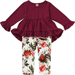 Toddle Kid Baby Girls Outfit Ruffle Floral Tops Long Pants Autumn and Winter 1-5T Little Girls Clothes Set