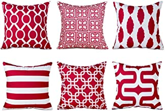 Topfinel Decorative Throw Pillow Cases Soft Microfiber Outdoor Cushion Covers 20 X 20 for Couch Bedroom Car, Pack of 6, Bu...