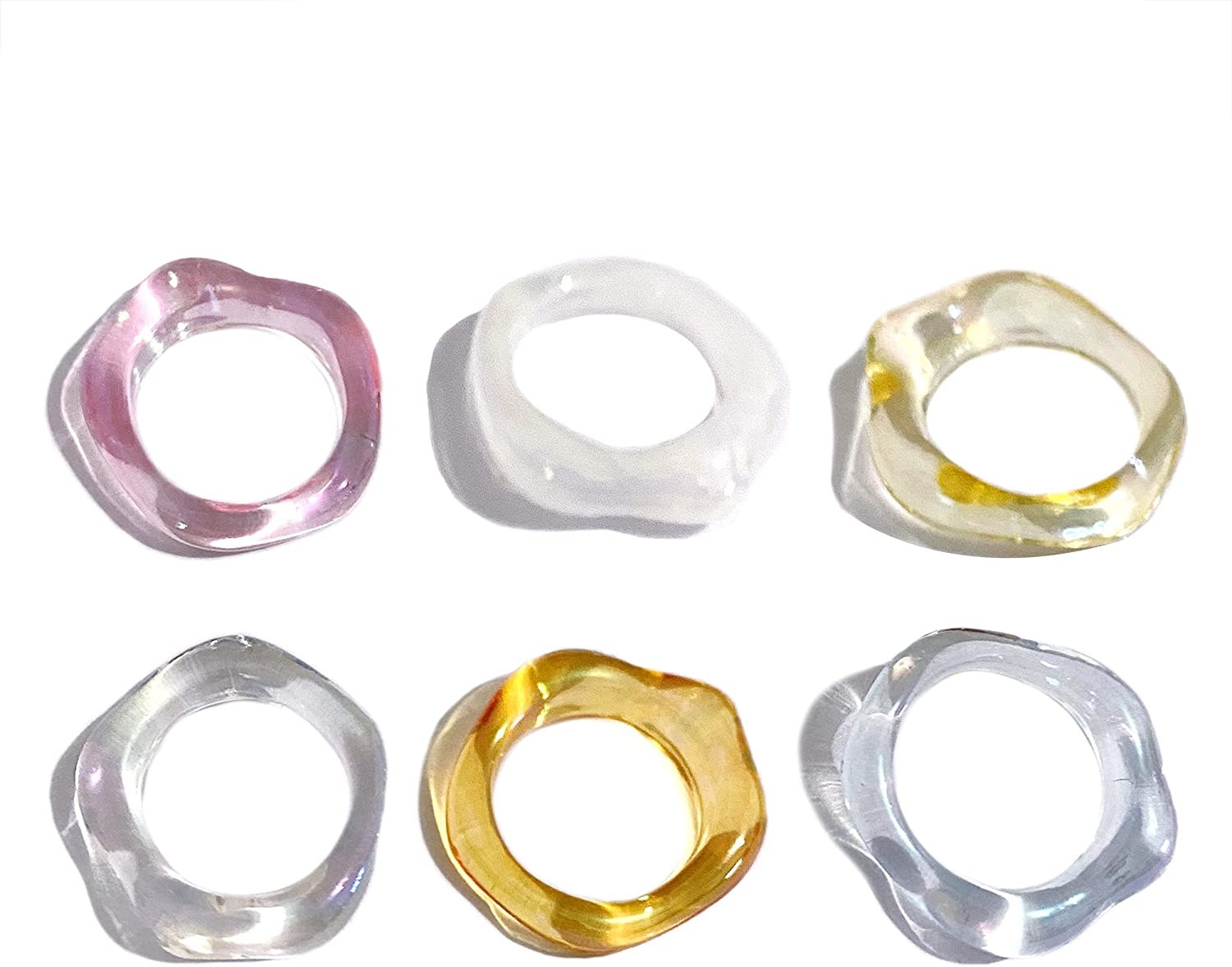 6Pcs Resin Plastic Colorful Polygon Rings Sets Acrylic Geometric Knuckle Finger Stackable Joint Ring Transparent Party Jewelry for Women Teen Girls