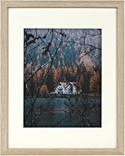 11x14 Rustic Beige Frame - Ivory Mat for 8x10 Picture - Sawtooth Hangers, Flexible Metal Tabs, Real Glass -Landscape/Portrait - Wall Mounting - Burlywood Color (11x14, Beige)