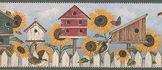 DC7083B Sunflower Birdhouse Butterly Bird Rustic Wallpaper Border 10.25