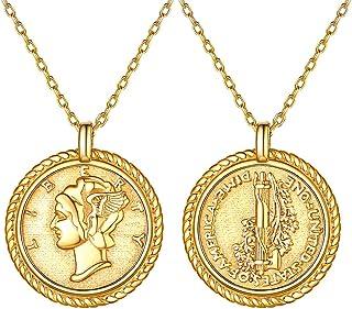 Silvora Saint Christopher/Saint Michael Medal Necklace, Sterling Silver Chic Saint Patron Pendant Jewelry Virgin Mary/Saint Benedict/Elizabeth Ⅱ Coin Charms for Women Men