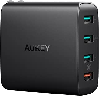 AUKEY USB充電器 ACアダプタ 4ポート 4台同時充電 42W Quick Charge 3.0搭載 スマホ充電器 USB急速充電器 LG G5/G6, HTC 10, iPhone X / 8 / 8 Plus, iPad Pro/A...
