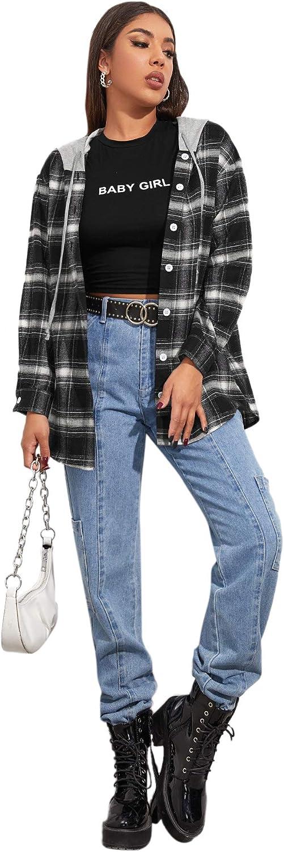 SheIn Women's Long Sleeve Plaid Drawstring Hooded Blouse Button Down Tunic Tops