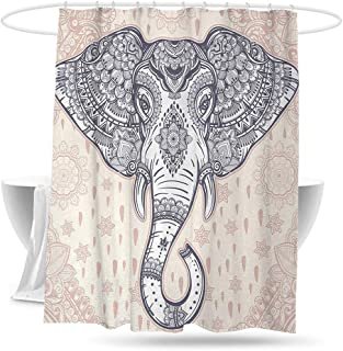 huangfuzz Elephant Mandala Bathtub Splash Guard Bohemian Elephant Paisley Vintage Ethnic Design Holy Animal Waterproof Colorful Funny 70in×70in Pale Pink and Purple