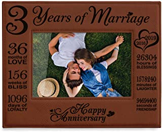 KATE POSH 2016-2019 Our 3rd Wedding Anniversary, 3 Years Anniversary, 3 Years of Marriage, Gifts for Couple, Third Anniversary - Engraved Rawhide Leather Picture Frame (4 x 6 Horizontal)