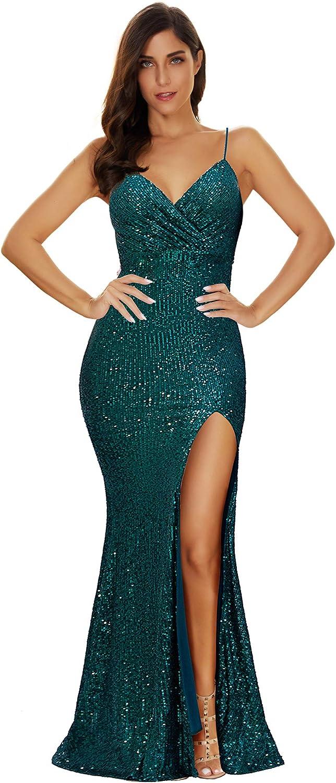 Women's Split Side Sparkling Sequins Straps Maxi Long Evening Prom Dress