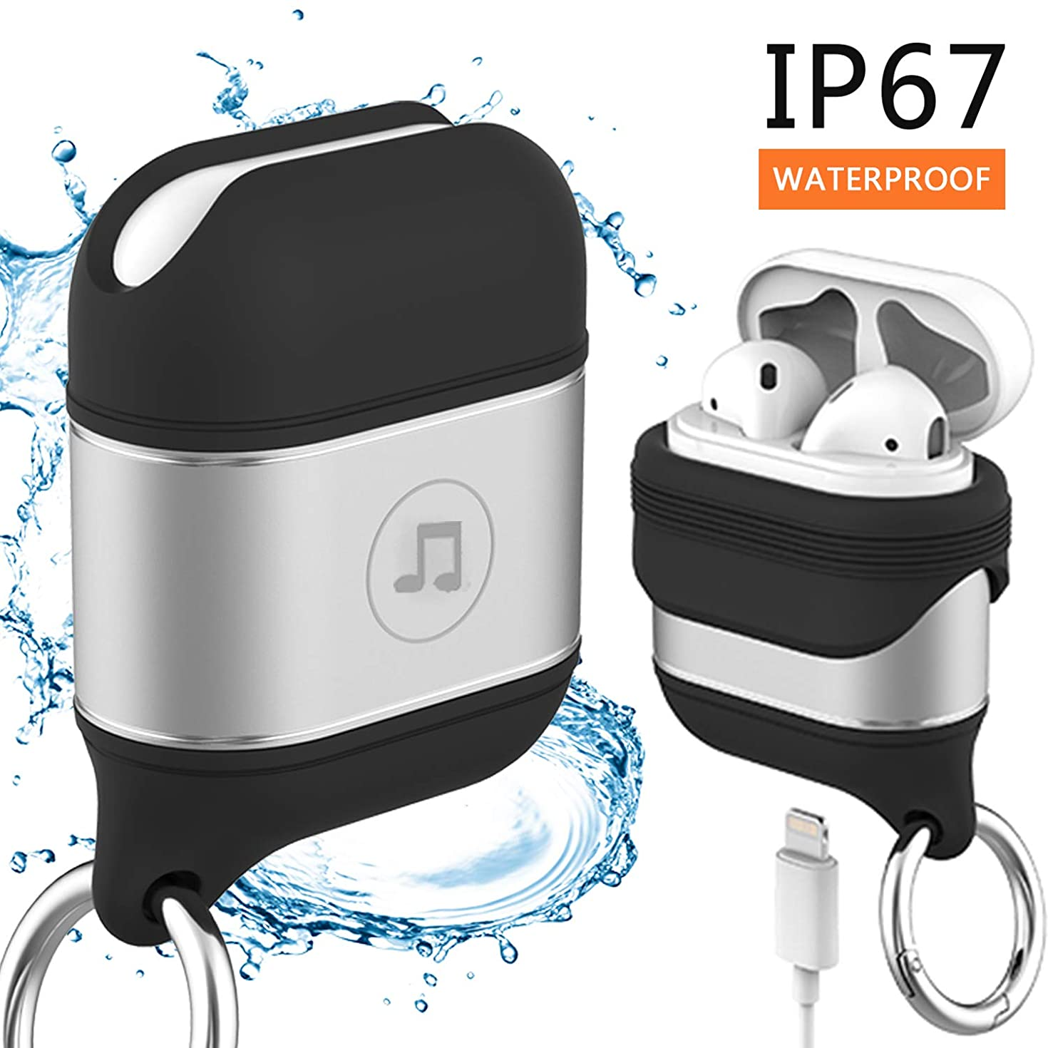 Venswell Compatible Airpods Case, Waterproof Premium Soft Silicone&Aluminium Alloy Material Airpods Cover, Protective Shockproof Case Cover and Skin with Anti-Lost Keychain for Airpods 1 & AirPods 2?