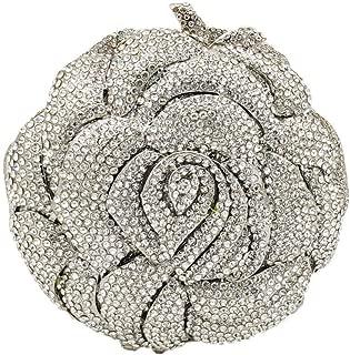 Women's Dinner Handbags Designer Dinner Handbags Crystal Silver Elegant Tote Bags, Ladies Party Wedding Clutches, Gift Gifts Ladies Evening Bags Flower Clutches