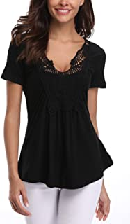 MISS MOLY Women's Peasant Tops Deep V Neck Shirts Peplum Tops Women Ruched Front Blouse Tunic
