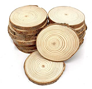 20Pcs of Unfinished Natural Wood Slices 3.5-4 inch, DIY Wood Crafts Christmas Ornaments Wedding Crafts Painting Decoration