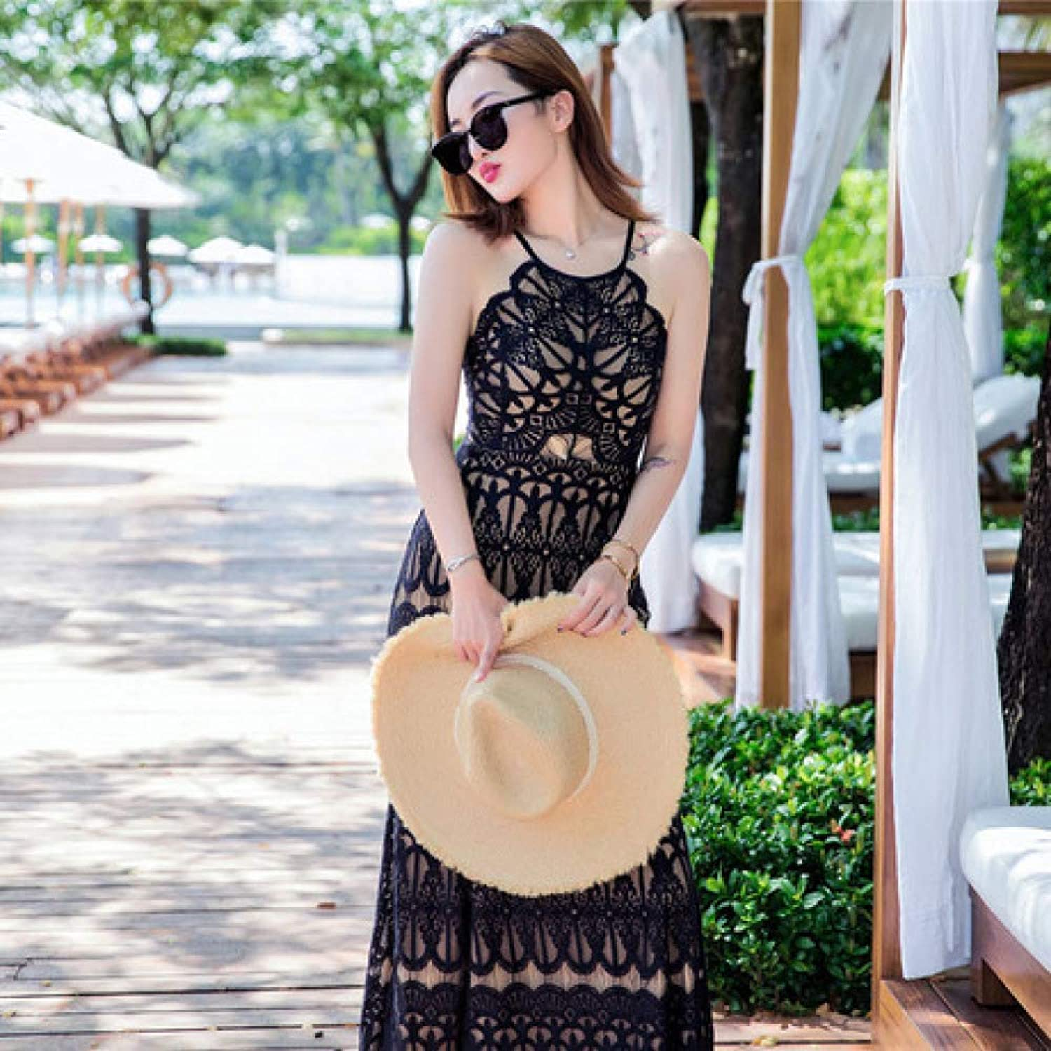 ZENWEN Women's New Seaside Vacation Wind Women's Halter Fishtail Dress Sexy Lace Beach Dress