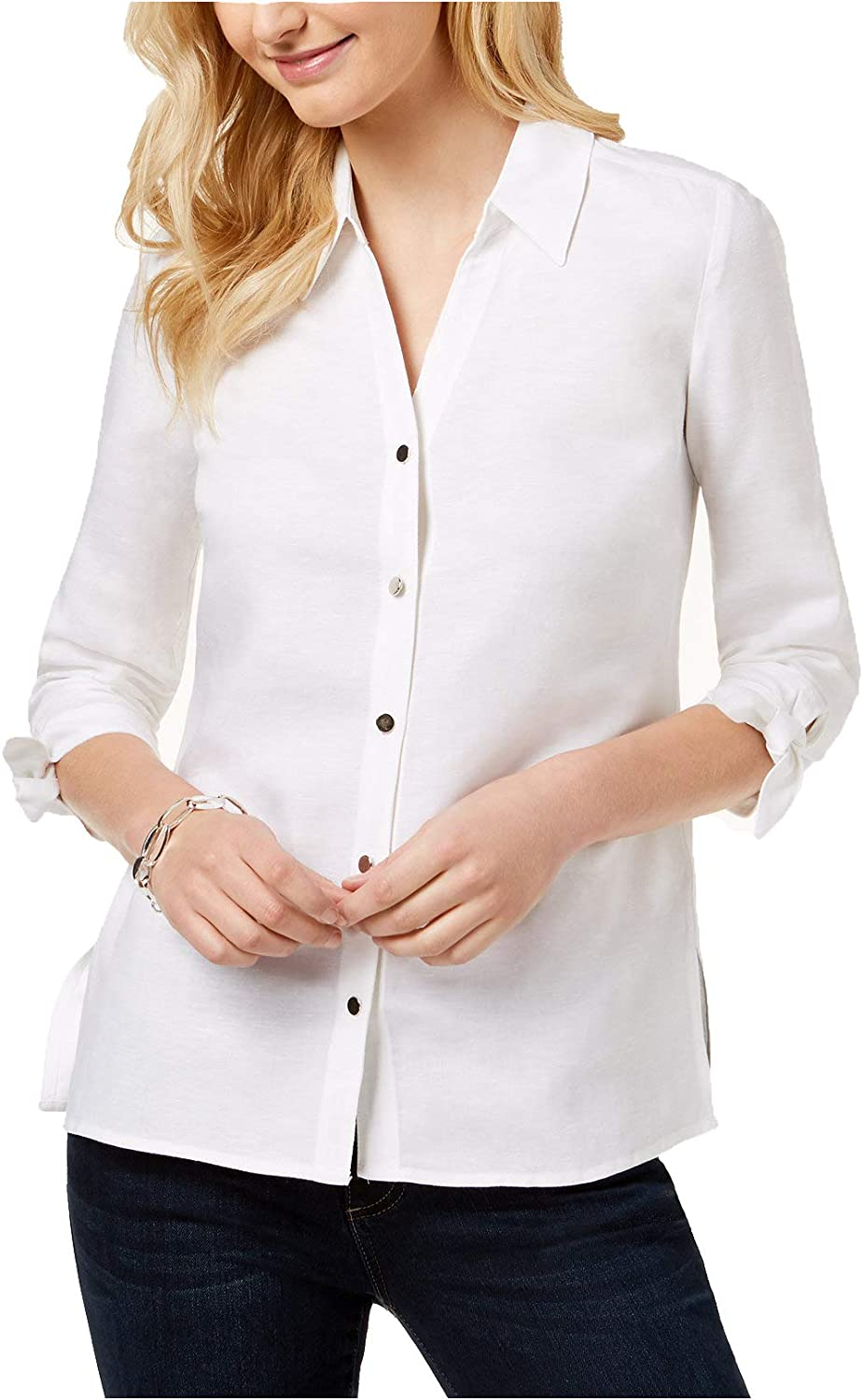 JM Collection Women's TieSleeve Shirt