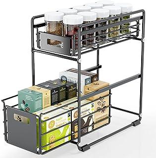 FINEW Sous évier étagère, Étagère à tiroirs, Panier de Rangement Coulissant à 2 Niveaux, étagère à épices étagère de cuisi...